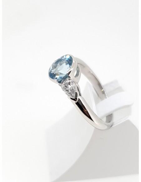 Bague aigue marie diamant or blanc