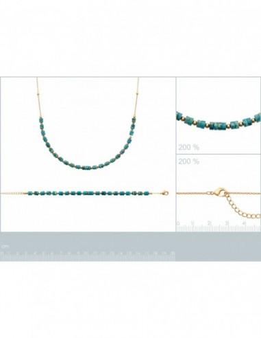 Bracelet plaqué or jaspe bleu