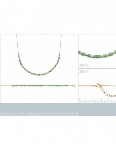 Bracelet plaqué or quartzite vert
