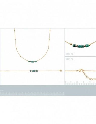 Bracelet plaqué or jaspe vert